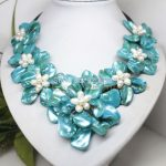 Wholesale Free P&P*white pearl blue mother of pearl shell 7 flower <b>handmade</b> necklace 18″ <b>Jewelry</b>