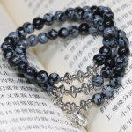 New fashion free shipping original design natural snowflake obsidian 6mm round beads multilayer bracelets <b>jewelry</b> <b>making</b> B2243