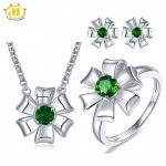 Hutang Solid 925 Sterling <b>Silver</b> 1.31ct Natural Gemstone Chrome Diopside Pendant & <b>Earrings</b> & Ring Fine Jewelry Sets For Women