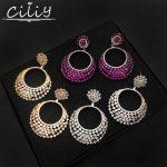 Ciliy Women Luxury Earrings 2018 Design Fashion Cubic Zirconia Circle Round Pendant Big Drop Earrings <b>Wedding</b> <b>Jewelry</b> Gl0284175