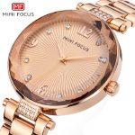 womens rose gold stainless steel wristwatches quartz diamond woman watches gold <b>silver</b> waterproof MINI FOCUS brand ladies clocks