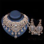 2017 New Fashion <b>Silver</b>&Gold <b>Necklace</b> Earrings Jewelry Sets High Quality Rhinestone Bridal Wedding Jewelry Sets LF-G023