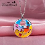 RainMarch Cartoon Enamel Silver Pendant For Chain Necklace or Choker Authentic 925 sterling silver <b>Handmade</b> Enamel <b>Jewelry</b>