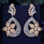 GODKI 65mm Luxury Popular Flower Full Mirco Paved Cubic Zircon Naija <b>Wedding</b> Earring Fashion <b>Jewelry</b>