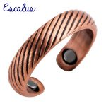 Escalus Ladies Trendy <b>Antique</b> Copper Lines Pattern Magnetic Ring Resizable Female Magnet Women <b>Jewelry</b> Charm Finger Wear