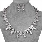 Luxury Waterdrop and Oval Cubic Zirconia Crystal Necklace and Earring Bridal <b>Wedding</b> <b>Jewelry</b> Set