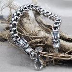 Dragon Scale <b>Bracelet</b> Chain Real Pure 925 Sterling <b>Silver</b> Double Heads Vintage Punk Rock Retro Style Men Jewelry