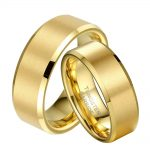 1 Pair Gold Color Tungsten <b>Wedding</b> Ring Set for Couple Lovers Promised <b>Jewelry</b> Bridegroom Bridal anillos