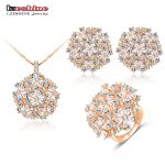 LZESHINE Flower Jewelry Sets <b>Silver</b> Color AAA Zirconia Inlayed Bridal Women Jewelry Pendants/Earrings /Ring Set CST0044