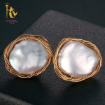 [NYMPH] Pearl <b>Earrings</b> For Women Fine Jewelry Maxi Baroque Freshwater Pearl <b>Earrings</b> 2018 Trendy Gift For Anniversary [E320]