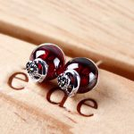 FNJ Round Ball Garnet Stud <b>Earring</b> Synthetic Red Blue Corundum 925 <b>Silver</b> for Women Heart S925 Sterling <b>Silver</b> <b>Earrings</b>