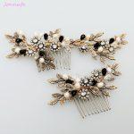 Jonnafe 2017 Vintage Gold Leaf Flower Hair Comb Pearl Bridal Hair <b>Jewelry</b> Handmade Wedding Accessories Combs Women Headwear