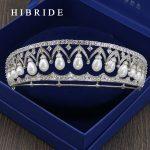 HIBRIDE Full AAA CZ Tiara King Crown Wedding Hair <b>Jewelry</b> Micro Pave Party Headpiece Women Birthday Bridal accessories HC00015
