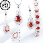 Wedding <b>Silver</b> 925 Costume Jewelry Sets Red Zircon <b>Bracelets</b> Pendant Necklace Rings Earrings With Stones For Women Set Gift Box