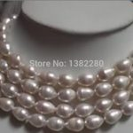 Rice shape 8-9mm White pearl beads long necklace 55inch Women fashion <b>jewelry</b> <b>making</b> design wholesale and retail