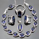 Blue Zircon Silver 925 <b>Jewelry</b> Sets For Women Pendant/Necklace/Rings/Drop Bracelets/Earrings With White Stones Jewelery Box