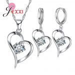 Giemi Top Quality 925 Silver Wedding <b>Jewelry</b> Sets Romantic for Women Love Heart Hollow Pendants Necklaces Earrings For Wedding