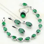 Crown Green Birthstones 925 Sterling Silver Costume <b>Jewelry</b> Sets For Women Engagement Earrings/Pendant/<b>Necklace</b>/Rings/Bracelets
