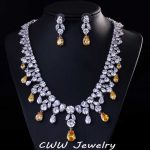 CWWZircons Top Quality Big Water Drop African Cubic Zirconia Beads <b>Necklace</b> Women Wedding And Engagement <b>Jewelry</b> Sets T195