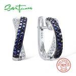 SANTUZZA <b>Silver</b> <b>Earrings</b> For Women 925 Sterling <b>Silver</b> Stud <b>Earrings</b> <b>Silver</b> 925 with Stones Cubic Zirconia brincos Jewelry