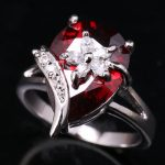 <b>Handmade</b> Pear Red Garnet White Gems 925 Sterling Silver Fashion <b>Jewelry</b> High Quality US# Solitaire Rings Size 6 7 8 9 S1601
