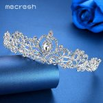 Mecresh Romantic Heart-shaped Crystal Bridal Crown Tiaras Luxurious Rhinestone Wedding Hair Accessories Engagement <b>Jewelry</b> HG012