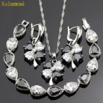 Lan Trendy Choker <b>Silver</b> 925 Jewelry Sets Black&White AAA Zircon Necklaces&Pendant /Earrings /<b>Bracelet</b> For Women Free Shipping