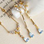 gemstone earrings pendant necklace <b>jewelry</b> set hot sale MEDBOO s925 <b>sterling</b> <b>silver</b> inlaying blue natural topaz fine jewelllery
