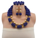 Blue Beads Jewellery Set New Dubai Gold Jewellery Chunky Crystal Statement <b>Necklace</b> Set African Bride <b>Jewelry</b> Set