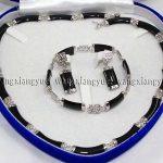 Natural Black Link Necklace <b>Bracelet</b> earrings Set>AAA GP Plated gold Bridal wide watch wings queen JEWE