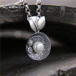 GLSAEEVO Pure <b>Silver</b> Vintage Ethnic Pearl Pendant Thai <b>Silver</b> Female Pendant Colgantes Mujer Moda Handmade Fine <b>Jewelry</b> GP0008