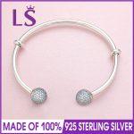 LS Real 100% 925 Sterling-<b>Silver</b> 2017 New Arrival Open Bangle <b>Bracelet</b> Fit Original Beads Charm Women Fine Jewelry W