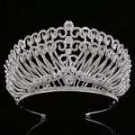 Bride Tiaras and Crowns Sliver Color Hair Crown Full Cubic Zirconia Large Queen Crown for Women <b>Wedding</b> Hair <b>Jewelry</b>
