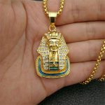 Egypt Iced Out Bling Rhinestone Sphinx Pendant <b>Necklace</b> For Women And Men Stainless Steel Egyptian <b>Jewelry</b> Dropshipping