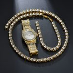 Men And Women Hip Hop Gold Color Full Rhinestone Alloy Party Bracelet <b>Necklace</b> Watch Sets <b>Jewelry</b> Holiday Gifts