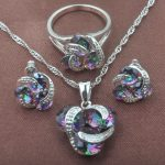 Classic Multicolor Rainbow Zircon For Women 925 Sterlig Silver <b>Jewelry</b> Sets Necklace Pendant Earrings Rings Free Shipping TZ0174