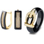 Gold Color Ben U Shape Stud Earrings For Women 2018 Bijoux Bling Crystal <b>Wedding</b> Ceramic Earrings Rings Set Statement Bijouterie