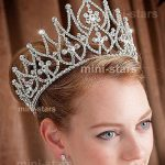 Venus <b>Jewelry</b> Women's 4 Tall Beauty Pageant Queen Royal Full Crown – <b>Silver</b> Plated Clear Crystals