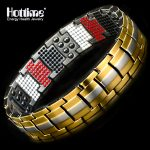 Hottime 591 PCS 4 In 1 Bio Elements Energy Stone <b>Fashion</b> Titanium Steel Magnetic Bracelet Never Fade Golden Men's <b>Jewelry</b>