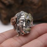 Real Pure 925 Sterling Silver Double Face Skull Ring With Rose Flower Carving Vintage Punk Thai Silver <b>Jewelry</b> Personality