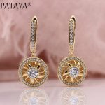 PATAYA New Earring 585 Rose Gold Natural Zircon Long Earrings Women Fashion <b>Wedding</b> Two Style Round Hollow Fine Luxury <b>Jewelry</b>