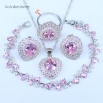L&B Princess Pink Crystal <b>Bracelets</b> <b>Silver</b> Color Jewelry Sets For Women 925 Stamp Fashion Jewelry Sets For Women Birthday Gift