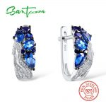 Santuzza <b>Silver</b> Stud Earrings for Women Blue Nano Cubic Zirconia Stones Ladies Pure 925 <b>Sterling</b> <b>Silver</b> Party Fashion <b>Jewelry</b>