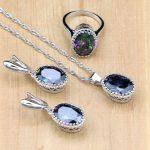 Mystic Rainbow Fire Zircon 925 Silver <b>Jewelry</b> Sets For Women Wedding <b>Accessories</b> Earrings/Pendant/Necklace/Rings