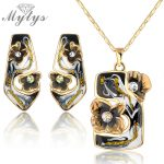 Mytys High Quality Retro Vintage Enamel Earrings Necklace <b>Jewelry</b> Sets Yellow GP N925