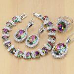 Mystic Rainbow Fire Cubic Zirconia <b>Jewelry</b> Sets Women 925 Sterling Silver <b>Jewelry</b> Earrings/Pendant/<b>Necklace</b>/Rings/Bracelet