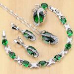 925 Sterling Silver <b>Jewelry</b> Green Zircon White CZ <b>Jewelry</b> Sets Women Earrings/Pendant/Necklace/Rings/Bracelet T225