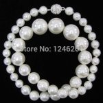 New 8-14mm White Shell Pearl Round Beads Necklace Girl Gift Beads <b>Jewelry</b> <b>Making</b> Natural Stone Rope Chain 18inch(Minimum Order1)