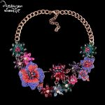 Dvacaman Brand Bohemian Shourouk Flower Statement Necklace New Crystal Wedding Choker Collar <b>Jewelry</b> Party Custom <b>Accessory</b> QQ25