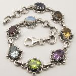 Chanti International Pure <b>Silver</b> MULTISTONES CLAW Setting ETHNIC <b>Bracelet</b> 7 3/4 Inches OXIDIZED